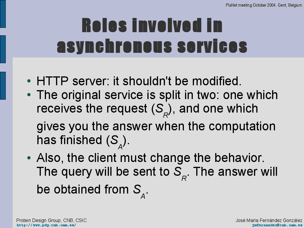 Roles in asynchronous models applied to HTTP context